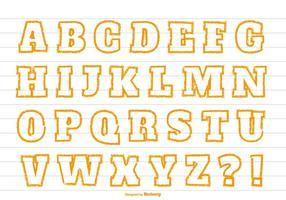 Gullig Orange Crayon Style Alphabet vektor