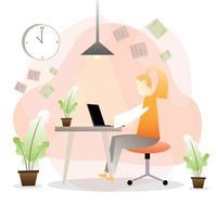 affärskvinna som arbetar hårt hemifrån