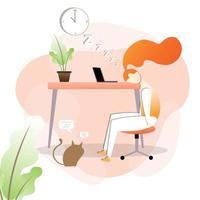 kvinna sover vid skrivbordet vektor