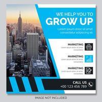 blå och vit vinkel design företag post
