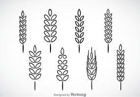 Weizen Stalk Black Outline Icons