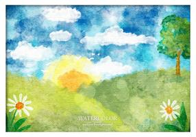 Gratis Vector vattenfärg landskap
