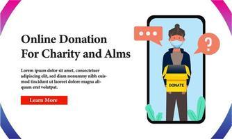 Banner Online-Spende für wohltätige Zwecke auf dem Telefonbildschirm vektor