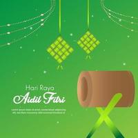 eid al fitr drum islamisches feierfest vektor