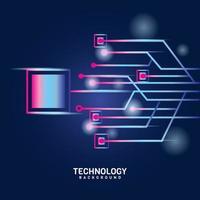 rosa lila digital framtidsteknologi på blått vektor