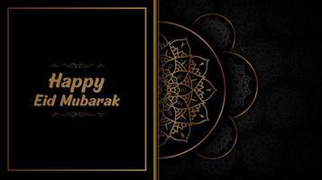Schwarz und Golf halbes Mandala Eid Mubarak Design