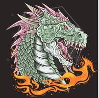 Drachenkopf mit offenem Mund und Flammen darunter