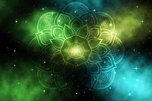 kreisförmiges Blumenmandala auf grüner und blauer Galaxie vektor