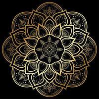 cirkulär guldblommamandala på svart vektor