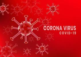 rotes Coronavirus covid-2019 Keimzellplakat vektor