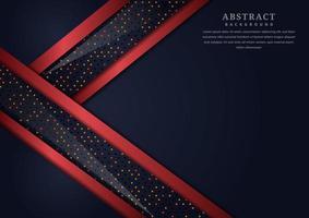 abstrakte schwarze geometrische überlappende Schichten mit rotem Rand vektor