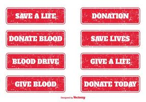 Blod donation grunge frimärken vektor