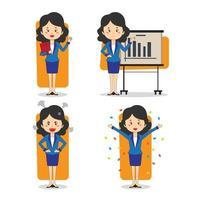 Satz von Geschäftsfrauenfiguren in verschiedenen Posen vektor