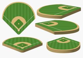 Vector Baseball Diamond från olika vinklar