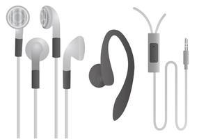 Weißer Kopfhörer-Vektor-Set