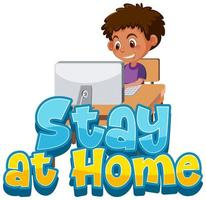 pojke stannar hemma för att undvika spridning av koronavirus vektor