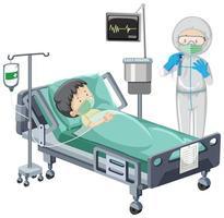 Krankenhausszene mit krankem Kinderpatienten im Bett auf weißem Hintergrund
