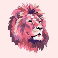 abstraktes rosa Löwenkopf-Tierlogo vektor