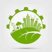ekologistadskoncept och miljö i grön design
