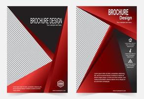 rotes und schwarzes Broschürenschablonenset vektor