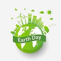 ekologi stadskoncept och miljö jorddagen design vektor