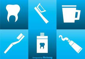 Mundpflege Weiß Icons vektor