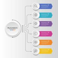 affärsinfografisk design med sex alternativ vektor