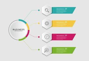 Geschäftsinfografik mit kreisförmigem Diagramm und Kopierraum vektor