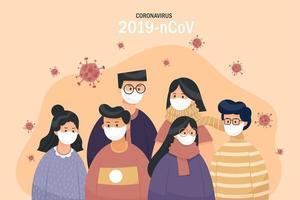 grupp som bär andningsskydd för att förhindra covid-19