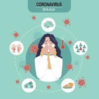 kvinna med cirkulära ikoner för att förhindra coronavirus