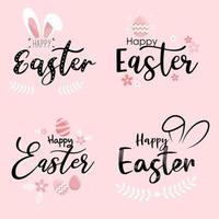 Happy Easter Schriftzug und Hasenohr Kritzeleien gesetzt