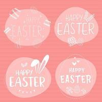 weiße und rosa glückliche Ostern Gekritzelbeschriftungssatz