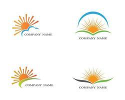 soluppgång logotyp set vektor