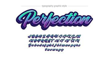 neongrüne und lila Kalligraphie-Schriftart vektor