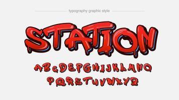rote tropfende graffiti Art künstlerische Schriftart vektor