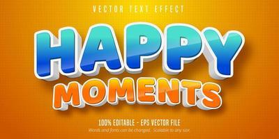 glückliche Momente glänzender blauer und orangefarbener Texteffekt