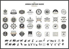 vintage badge set med tjur och andra djur vektor