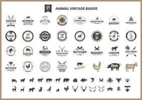 vintage badge set med grisar och andra djur vektor