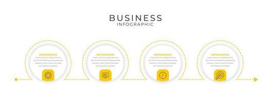 Infografikschablone des gelben Kreisentwurfsgeschäfts vektor