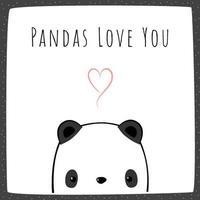 söt panda tecknad doodle kort vektor