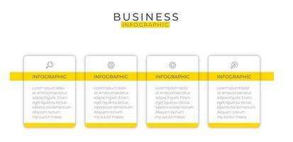 moderne gelbe quadratische Geschäftsinfografikschablone vektor