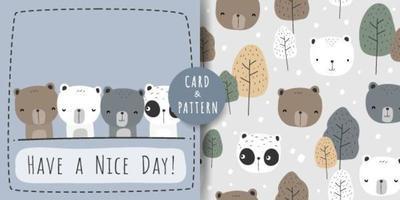 niedliche Panda Polar Teddybär Cartoon nahtlose Muster vektor