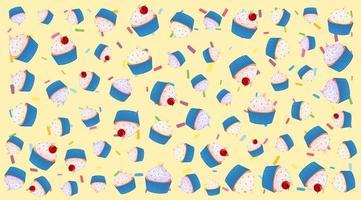 nahtloses Cupcake-Muster auf gelb vektor