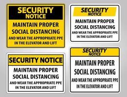 säkerhetsmeddelande upprätthåller korrekt social distanseringstecken