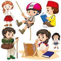 Jungen und Mädchen in verschiedenen Aktivitäten vektor