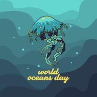 Weltozean-Tagesentwurf mit Quallen