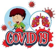 covid 19-affisch med sjuk pojke och dåliga lungor