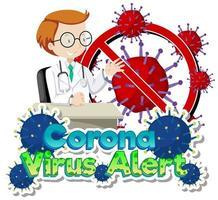 coronavirus alert tema med läkare och viruscell