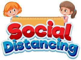 social distans med två glada flickor med linjal vektor