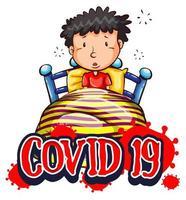 Plakatentwurf mit Coronavirus-Thema mit krankem Mann im Bett